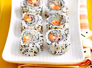 Ham, cheese and avocado sushi rolls