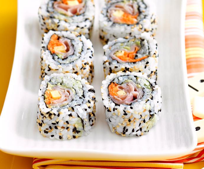 Ham, cheese and avocado sushi rolls