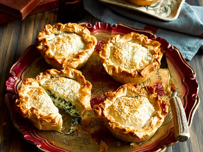 """**[Individual spanakopita](https://www.womensweeklyfood.com.au/recipes/individual-spanakopita-7506