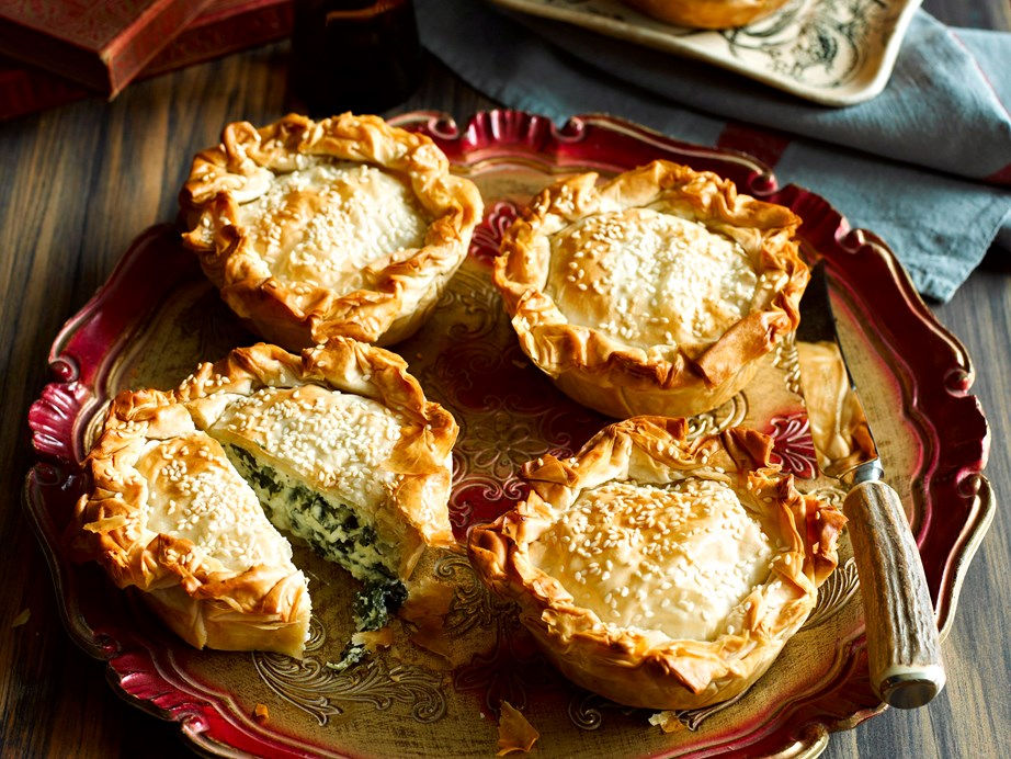 "[**Individual spanakopita**](https://www.womensweeklyfood.com.au/recipes/individual-spanakopita-7506|target=""_blank"") <br><br> Both the adults and kids will love these crispy Greek pies."