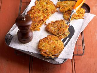 Kumara and leek rosti with garlic mayonnaise