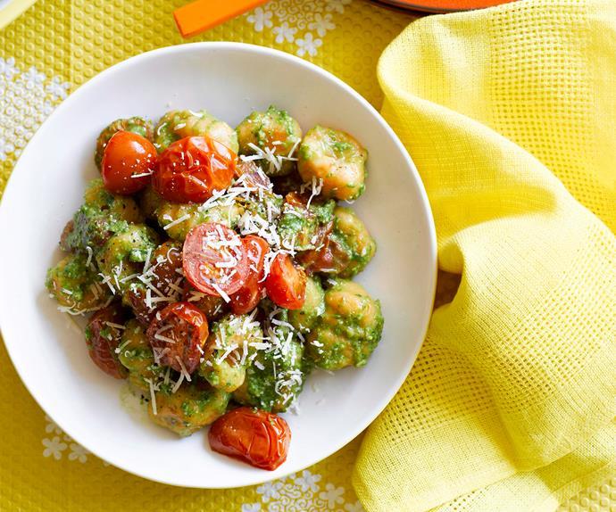 Kumara gnocchi with spinach pesto