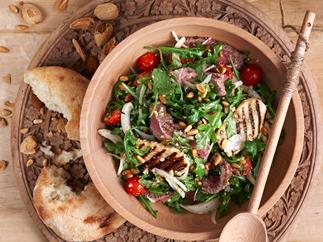 Lamb salad with pine nuts and dukkah dressing