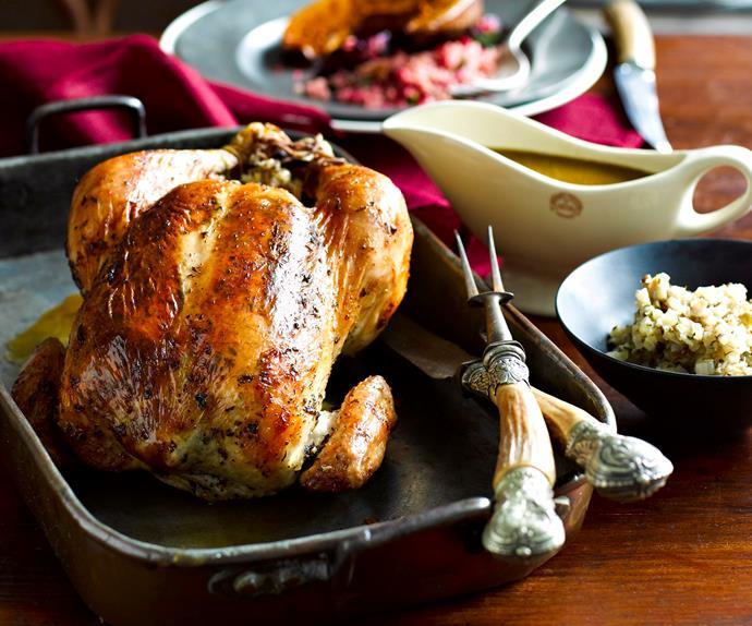 Lemon thyme roast chicken with citrus fennel stuffing