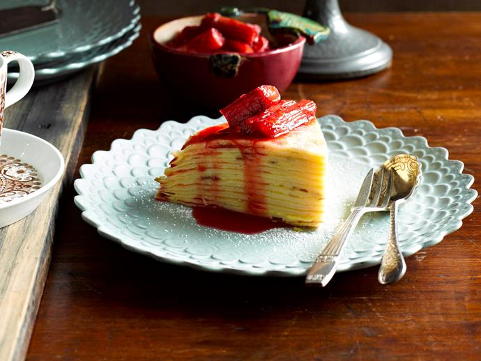 "[Orange curd crepe cake with rhubarb compote recipe.](http://www.foodtolove.com.au/recipes/orange-curd-crepe-cake-with-rhubarb-compote-8114|target=""_blank"")"