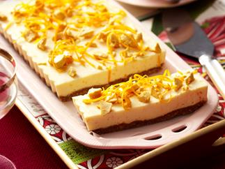 Orange honeycomb cheesecake slice