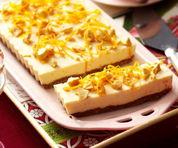 Orange honeycomb cheesecake slice
