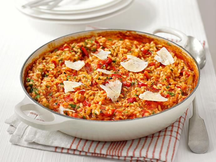 "**[Oven-baked capsicum risotto](https://www.womensweeklyfood.com.au/recipes/oven-baked-capsicum-risotto-23199|target=""_blank"")**"