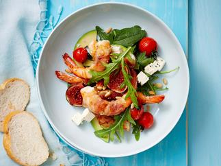 Pancetta and prawn salad with maple figs