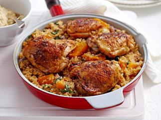 Pan-roasted chicken with lemon couscous