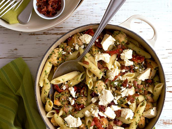 "[Pesto penne with chicken, bacon and feta recipe.](https://www.womensweeklyfood.com.au/recipes/pesto-penne-with-chicken-bacon-and-feta-23212|target=""_blank"")"