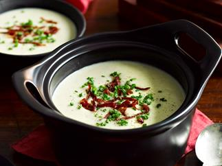 Potato and roasted fennel soup with crispy prosciutto