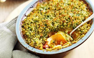 Potato, kumara and capsicum bake