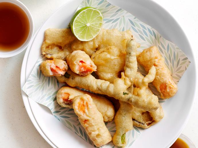 """Go Japanese with this simple [salmon and vegetable dish](https://www.womensweeklyfood.com.au/recipes/salmon-and-vegetable-tempura-28420