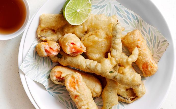 Salmon and vegetable tempura