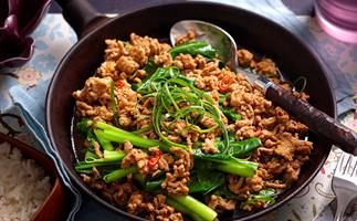 Sichuan- style gai lan and pork mince