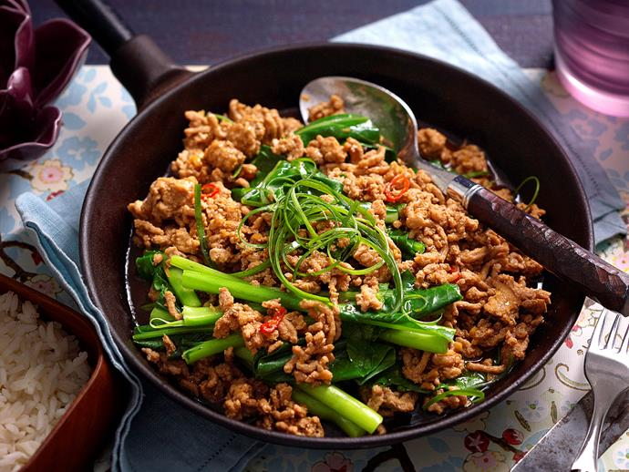"**[Sichuan-style gai lan and pork mince](https://www.womensweeklyfood.com.au/recipes/sichuan-style-gai-lan-and-pork-mince-22662|target=""_blank"")**"