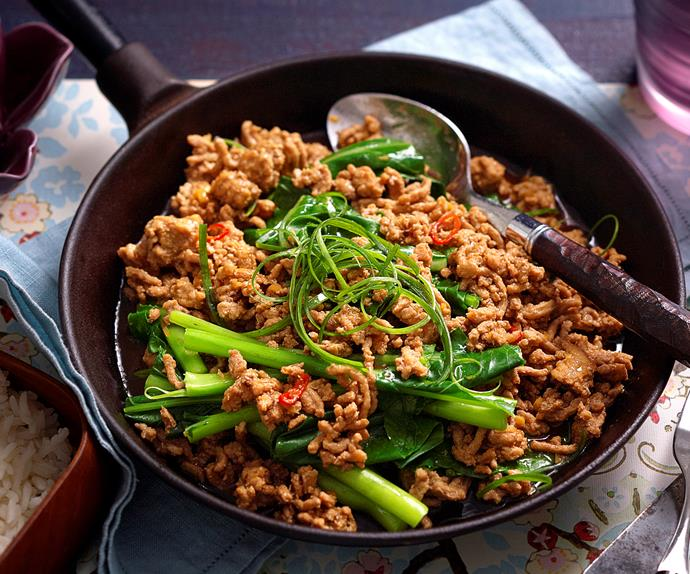 Sichuan-style gai lan and pork mince