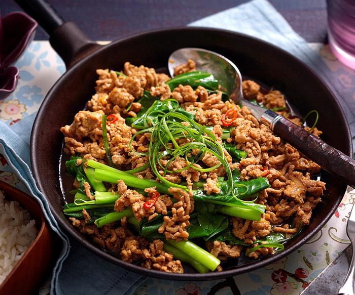 Sichuan-style gai lan and pork mince