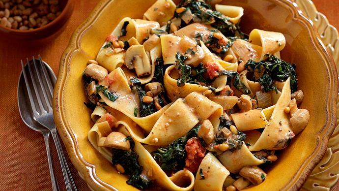 Silverbeet and mushroom pasta