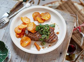 Paleo sirloin with salsa verde and kumara chips