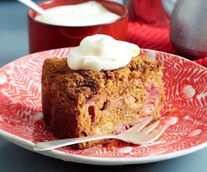 Sugar-crusted rhubarb cake