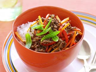 sweet and sour beef mince with vegies
