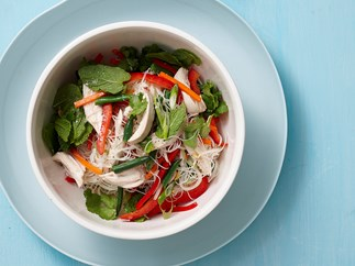 Warm thai chicken and vermicelli noodle salad