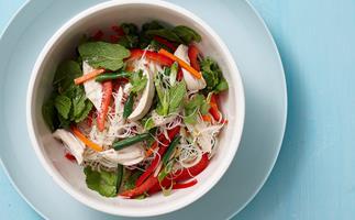 Warm thai chicken and vermicelli noodle salad