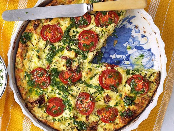 "**[Zucchini, tomato and ricotta bake](https://www.womensweeklyfood.com.au/recipes/zucchini-tomato-and-ricotta-bake-22742|target=""_blank"")**"