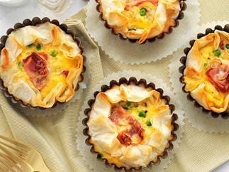 Mini pancetta, pea and egg filo tarts