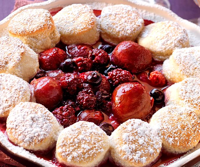 Pulm, berry and coconut cobbler