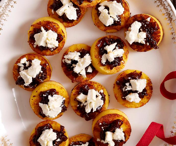 Polenta rounds with fig relish and fetta