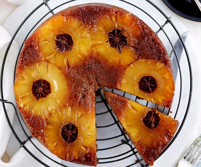 Star anise and pineapple upside-down cake