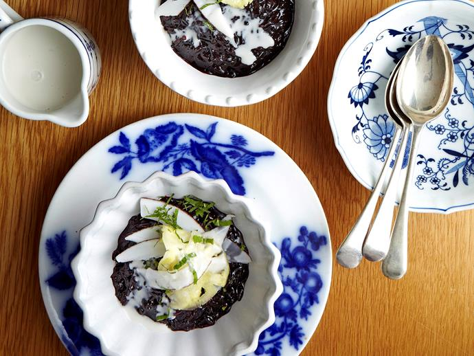"""**[Sticky black rice with coconut and palm sugar](https://www.womensweeklyfood.com.au/recipes/brown-rice-congee-with-fried-garlic-29398