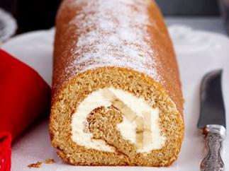 Treacle sponge roll with banana and cream