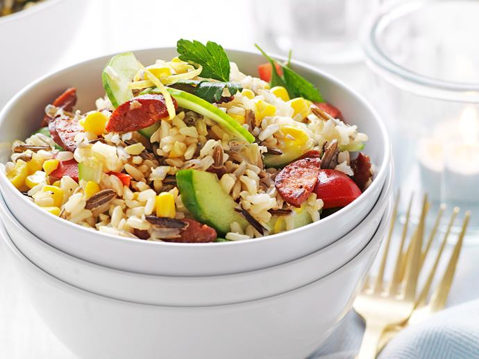 "**[Wild rice and chorizo salad](https://www.womensweeklyfood.com.au/recipes/wild-rice-and-chorizo-salad-16387|target=""_blank"")**"