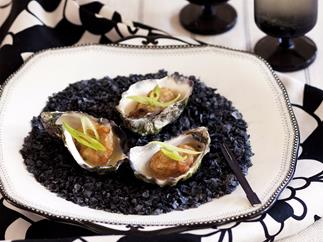 Champagne tempura oysters with wasabi dressing