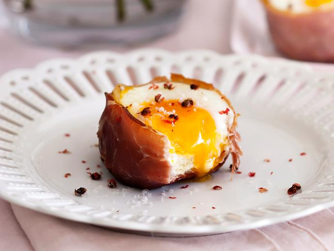 """**[Prosciutto, egg and brioche cups](https://www.womensweeklyfood.com.au/recipes/prosciutto-egg-and-brioche-cups-26718