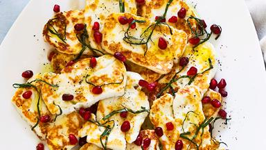 Haloumi with pomegranate and basil