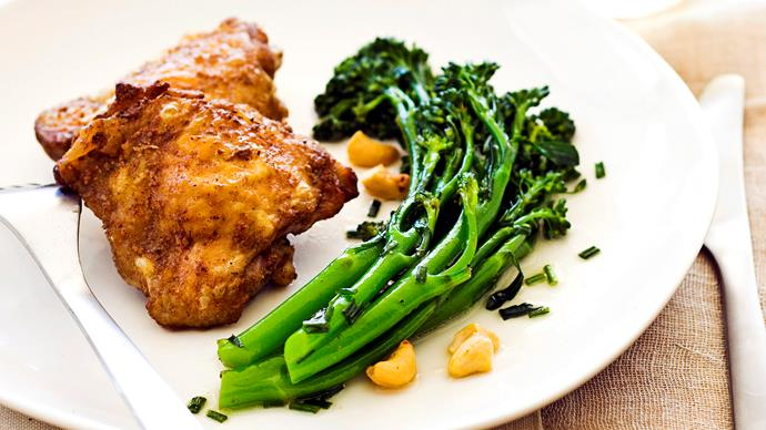 Five spice chicken with brocconolini and cashew salad
