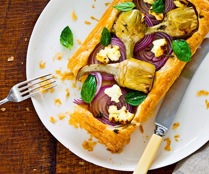 Artichoke, ricotta and onion tarts