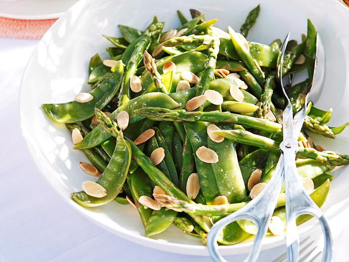"**[Asparagus, snow pea and almond salad](https://www.womensweeklyfood.com.au/recipes/asparagus-snow-pea-and-almond-salad-22915|target=""_blank"")**"
