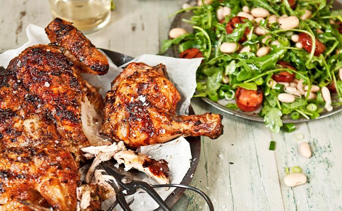 BBQ chicken with chorizo and bean salad