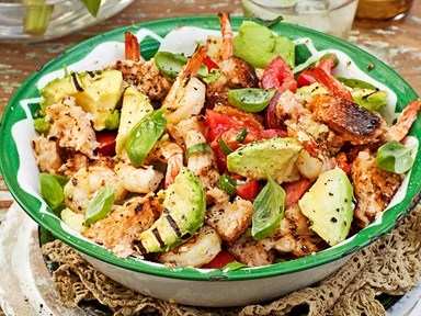 Barbecue lemon prawns with char-grilled avocado panzanella salad