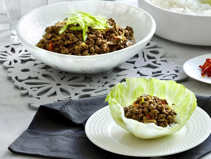 "**[Beef san choy bau](https://womensweeklyfood.com.au/recipes/beef-san-choy-bau-22322 target=""_blank"")**  Tasty parcels of mince wrapped in lettuce leaves."