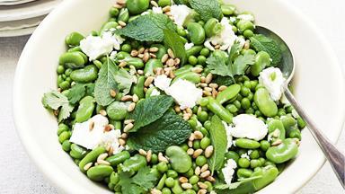 Broad bean, baby pea and feta salad