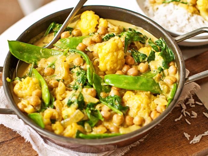 """**[Cauliflower, snow pea, spinach and chickpea curry](https://www.womensweeklyfood.com.au/recipes/cauliflower-snow-pea-spinach-and-chickpea-curry-28033