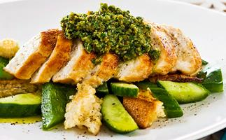 Chicken breast with green olive and rocket tapenade