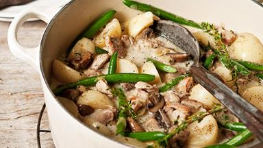 Chicken, potato and mushroom fricassee